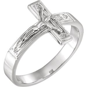 Crucifix Chastity Ring Sterling Silver
